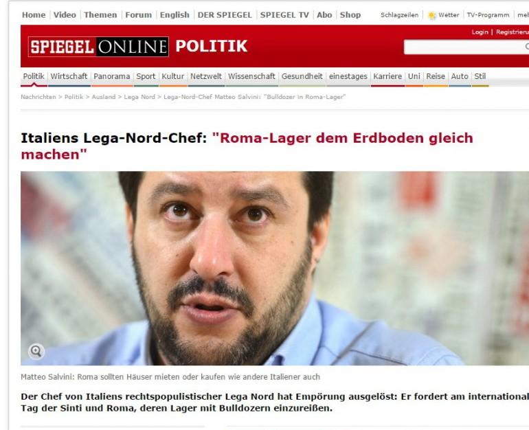 Le dichiarazioni di Matteo Salvini contro i rom su Der Spiegel