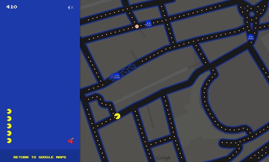 pesce d'aprile 4 google maps pac-man