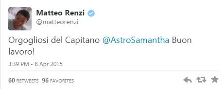 La telefonata in diretta tra Samantha Cristoforetti e Matteo Renzi