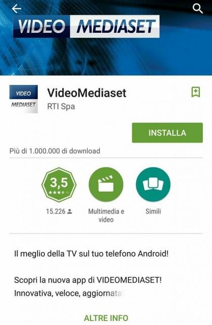 App per vedere la tv VIDEO MEDIASET