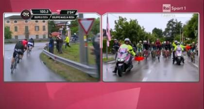 Giro d'Italia passaggio a livello chiuso gruppo