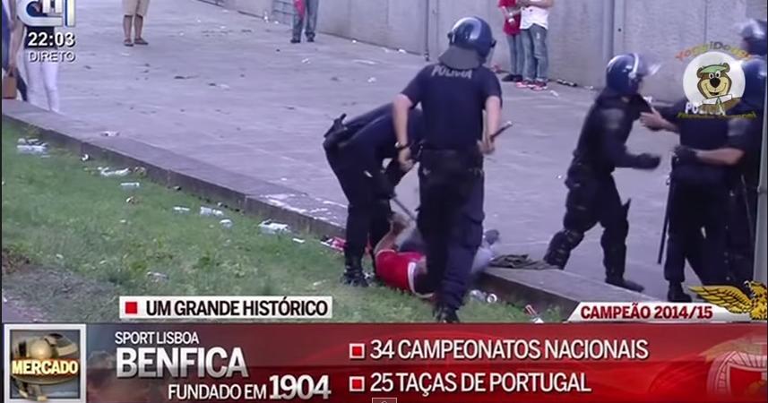 Il video del poliziotto che aggredisce papà e nonno tifosi del Benfica davanti al loro bambino