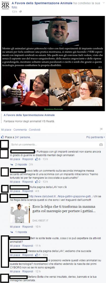Facebook/A Favore della Sperimentazione Animale