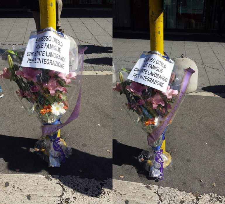 incidente roma rom battistini fiori semaforo