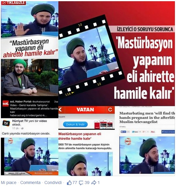 Il collage di citazioni esibito con orgoglio sulla pagina Facebook di Mucahid Cihad Han