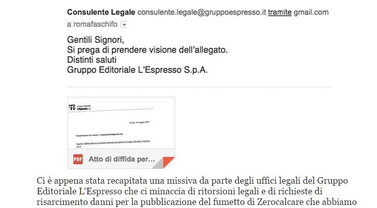Romafaschifo pubblica Zerocalcare e viene diffidato dal gruppo L'Espresso