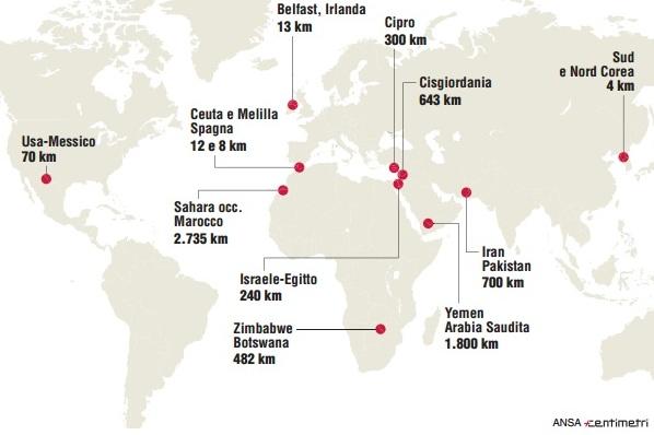 Non solo ungheria la mappa dei muri del mondo for Carta per muri