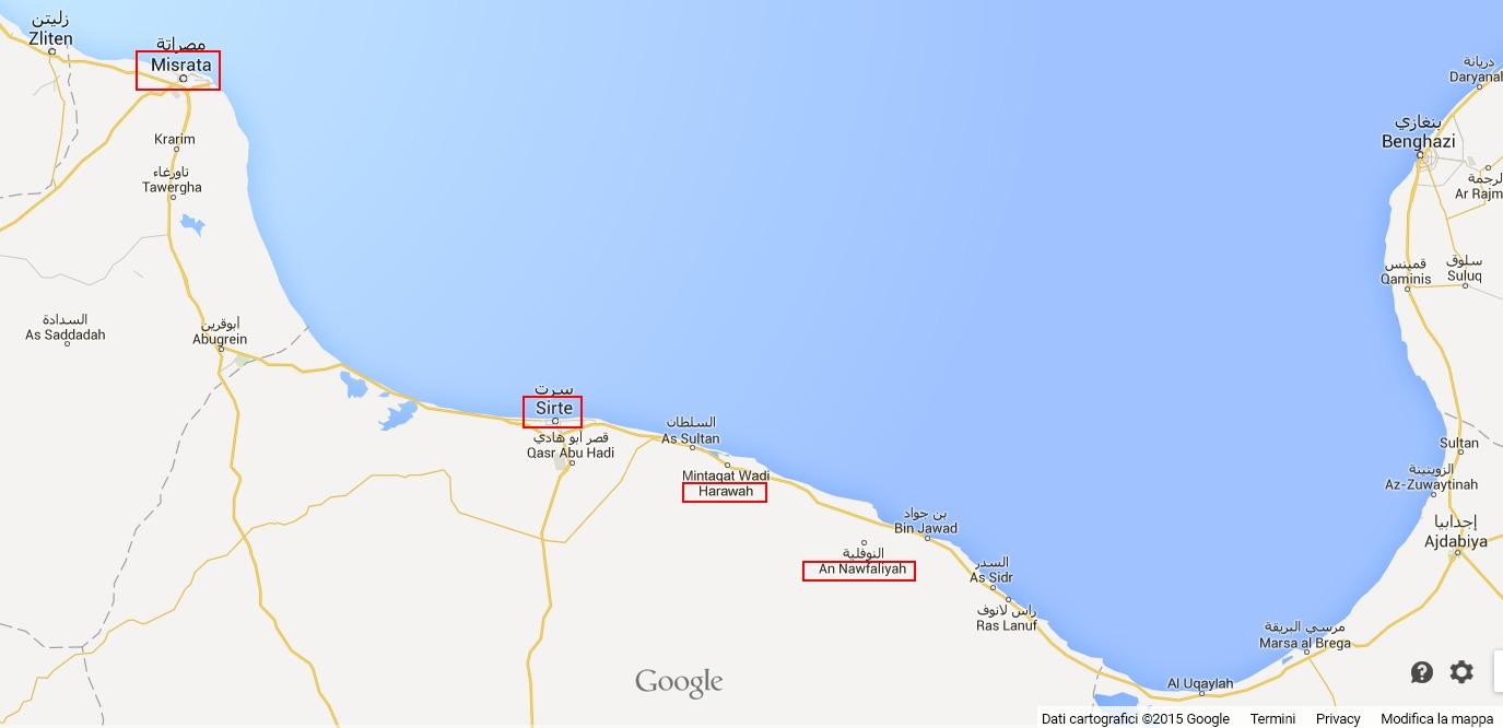 Le località sotto il controllo dell'ISIS