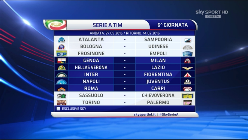 Serie A Calendario 6 Giornata.Calendario Serie A 2015 2016 Roma Juventus Alla Seconda