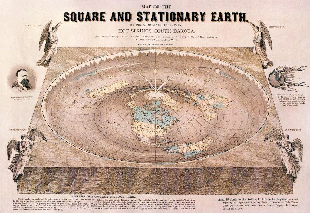 Una riproduzione ottocentesca di un'ipotesi di Terra piatta