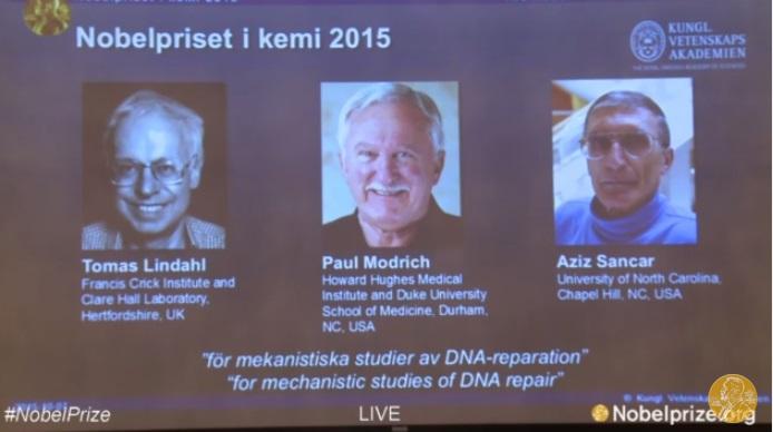 Premio Nobel Chimica 2015 vincitori Tomas Lindahl Paul Modrich Aziz Sancar
