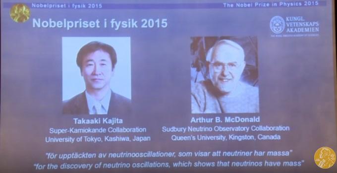 Premio Nobel Fisica 2015 Takaaki Kajita Arthur B. McDonald