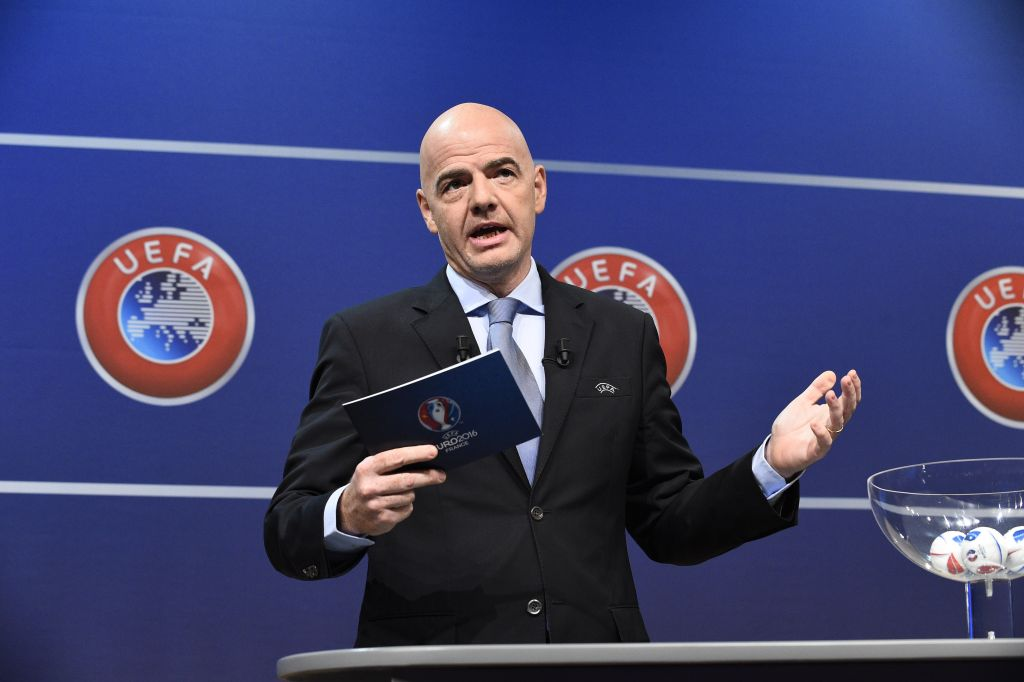 Il segretario generale dell'UEFA Gianni Infantino (Photo credit  ALAIN GROSCLAUDE/AFP/Getty Images)