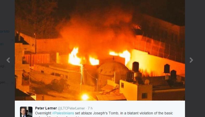Gerusalemme, a fuoco la Tomba di Giuseppe
