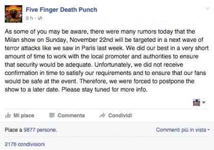 L'annuncio dell'annullamento del concerto di stasera - Facebook/ Five Finger Death Punch