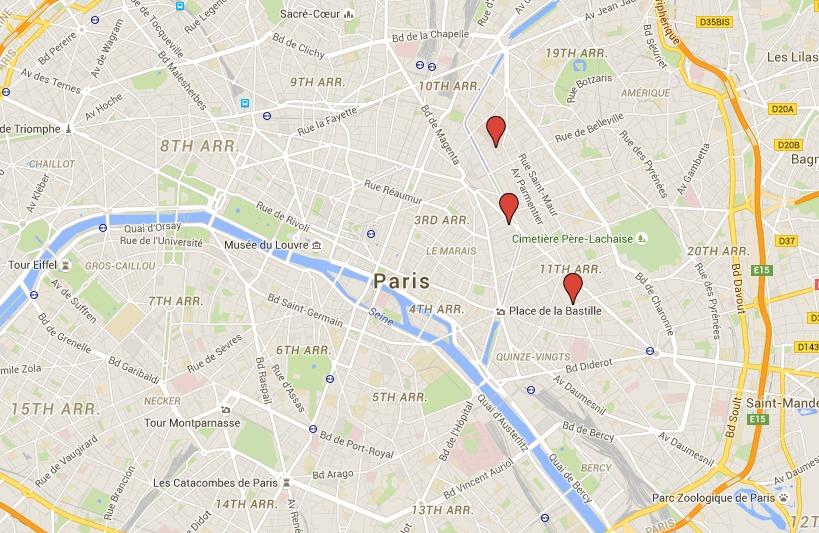 I luoghi delle sparatorie sono relativamente vicini tra loro, mentre lo stadio è più lontano
