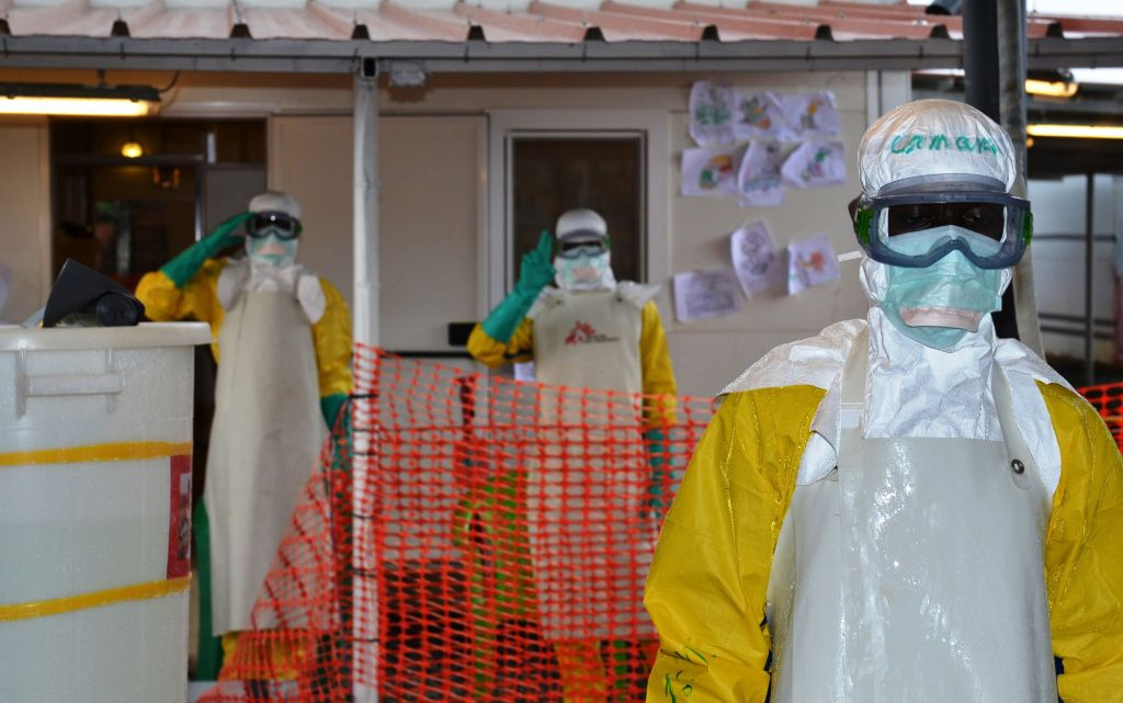 Nongo ebola treatment centre in Conakry, Guinea, on August 21, 2015. The World Health Organization WHO has lost track of 45 people under surveillance, who had been in contact with a patient who contracted Ebola, in Guinea, the organization informed on August 19, 2015. AFP PHOTO / CELLOU BINANI         (Photo credit should read CELLOU BINANI/AFP/Getty Images)