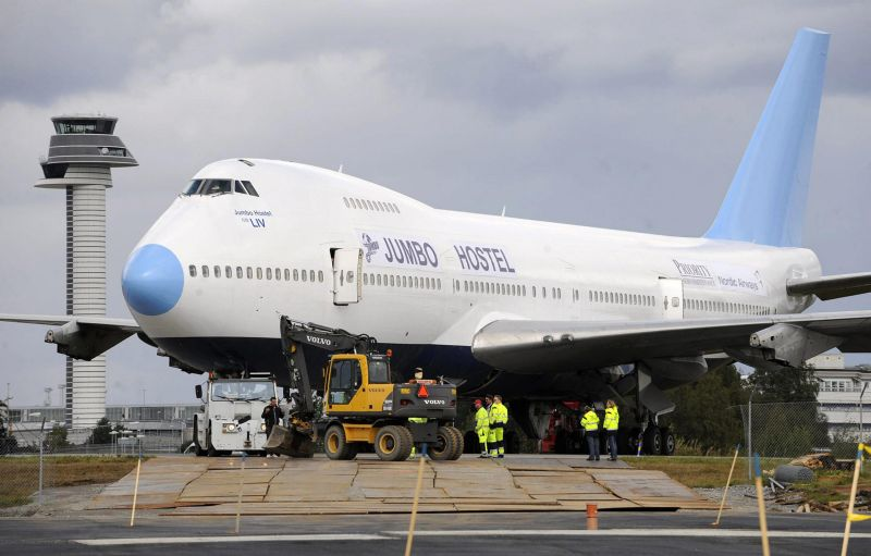 photo taken August 28, 2008 shows a Boeing 747-200 aircraft that will be the world's first 'Jumbo Hostel' as it is towed to it's parking spot at the high way entrance to Stockholm Arlanda Airport. The Jumbo Hostel project is founded by Uppsala based entrepreneur Oscar Diös and will feature 25 rooms with three beds in each and a suite in the upper deck cockpit area. The hostel will open in December this year. AFP PHOTO / SCANPIX SWEDEN / BERTIL ERICSON (Photo credit should read BERTIL ERICSON/AFP/Getty Images)