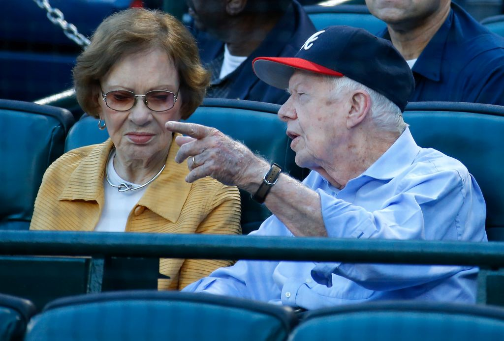 Former President Jimmy Carter and his wife Rosalynn look on prior to the game between the Atlanta Braves and the Toronto Blue Jays at Turner Field on September 17, 2015 in Atlanta, Georgia. (Photo by Kevin C. Cox/Getty Images)
