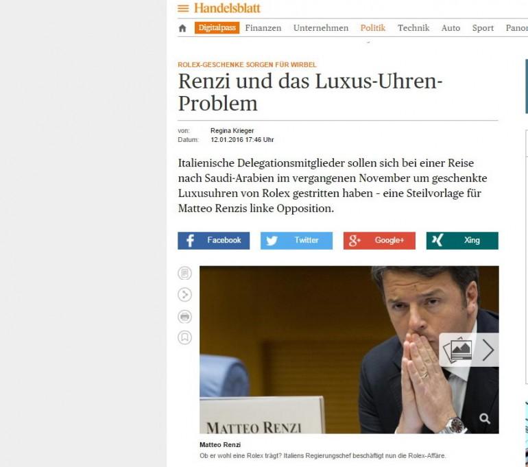 Matteo Renzi - Rolex- Arabia Saudita - Handeslblat