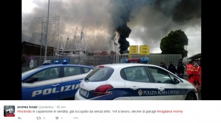 Roma, incendio in ex capo rom abbandonato: nessun danno persone