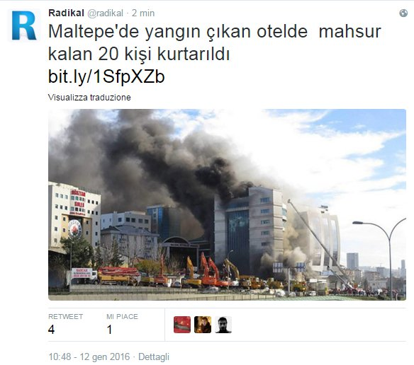 istanbul hotel in fiamme