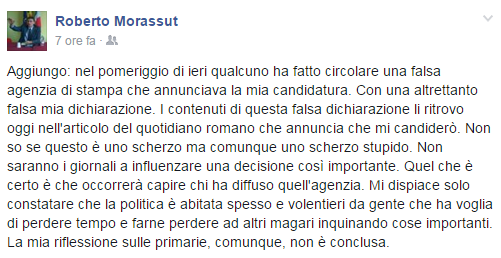 roberto morassut primarie pd roma 2016 agenzia