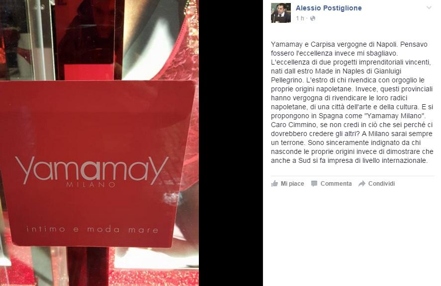 Yamamay, una critica su Facebook