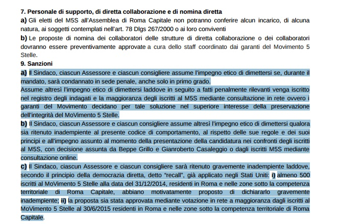 Codice comportamento M5S Roma