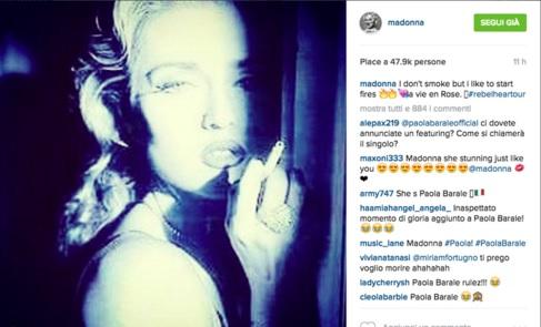 Madonna posta su Instagram una foto di Paola Barale: l'ironia sui social