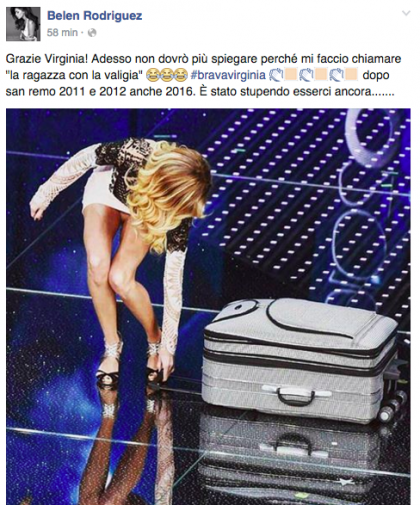 Belen complimenti su Fb a Virginia Raffaele