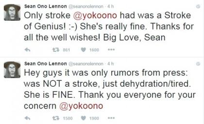Yoko Ono influenza infarto