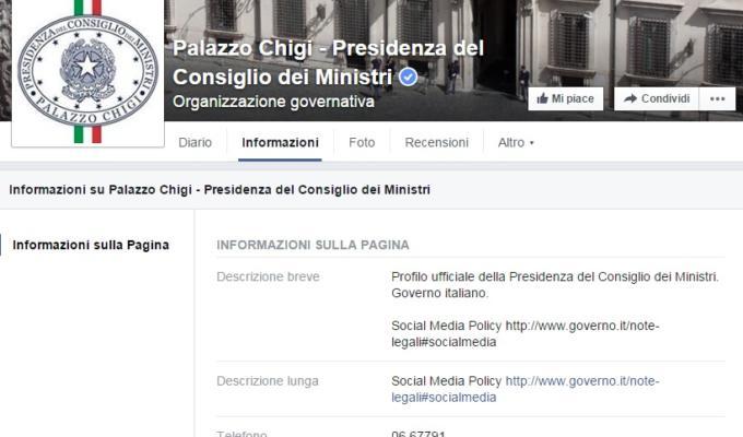 palazzo chigi facebook