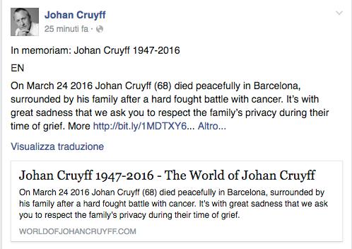 Addio Johan Cruijff, leggenda del calcio totale