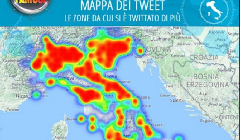isola dei famosi 2016 tweet mappa