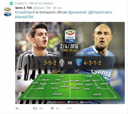 Juventus-Empoli diretta live