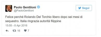 Rolando Del Torchio liberato
