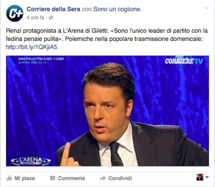 Corriere della Sera Renzi coglione
