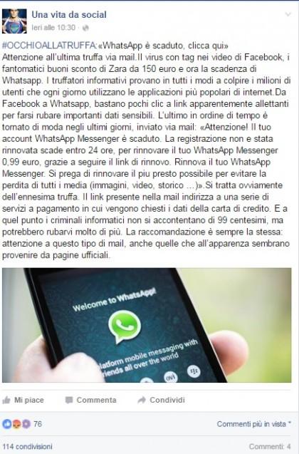 whatsapp scaduto email bufala
