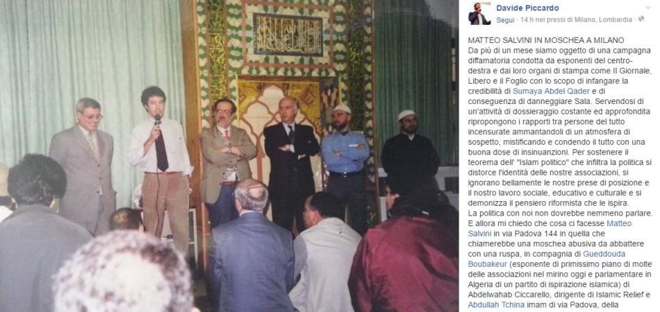 Matteo Salvini foto in moschea