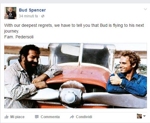 È morto Bud Spencer, il gigante buono del cinema italiano
