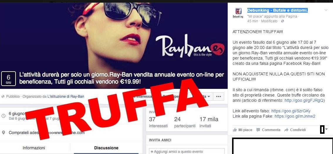 rivenditore di vendita b2afd 85b13 Ray Ban | Truffe on line | Siti falsi | Facebook