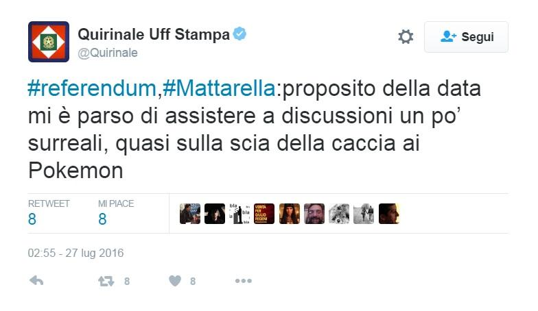 Referendum, Mattarella: Sulla data discorsi surreali come la caccia ai Pokemon