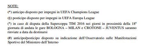 Calendario Serie A 2016 2017