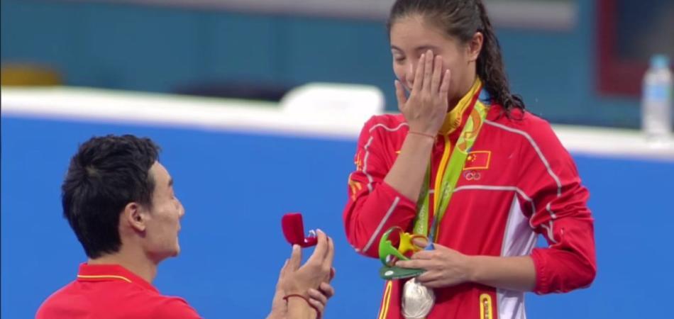 He Zi proposta di matrimonio tuffi Rio 2016