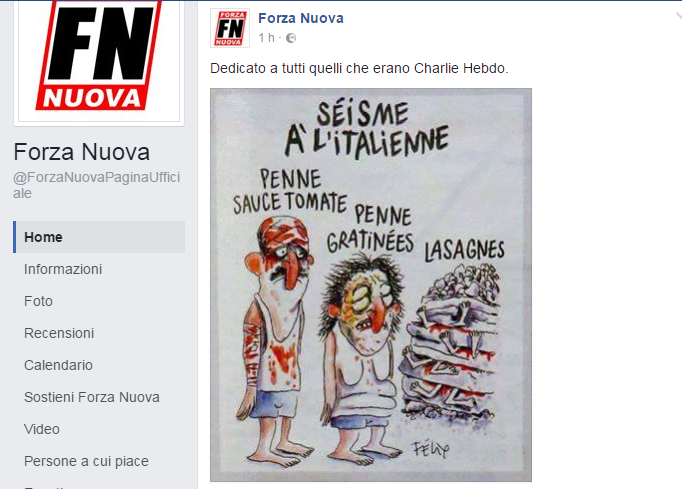 Charlie Hebdo, vignetta irriverente sul terremoto in Italia