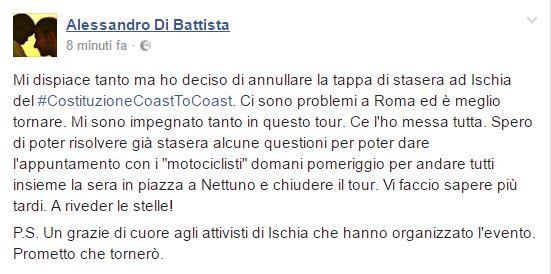 Di Battista annulla tappa tour