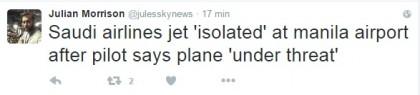 Manila Saudi Airlines dirottatore