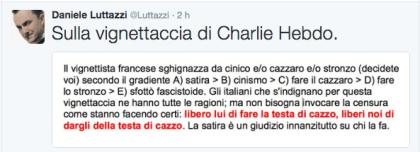 Daniele Luttazzi contro la vignetta di Charlie Hebdo sul terremoto