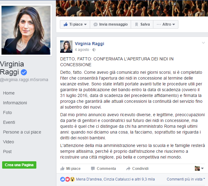 Virginia Raggi asili bando cancellato